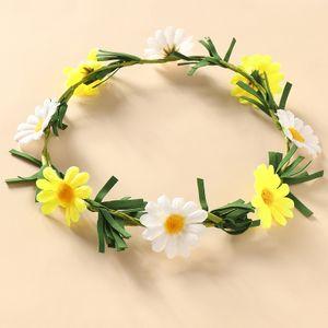 Coiffe coréenne de guirlande de bandeau de fleurs bicolores NHNU242499