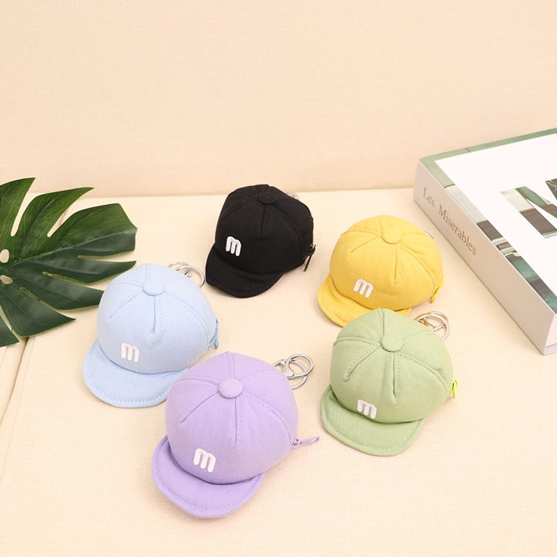 Korean candy color baseball cap coin bag mini zipper golf bag car key cover  NHBN242520