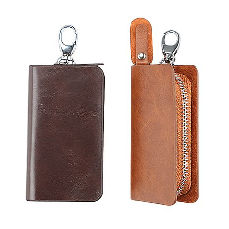 Fashion men's leather zipper multi-function car key clip wholesale NHBN242522's discount tags