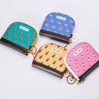 Nueva cremallera impresa de cuero para niñas pequeña billetera portátil de dibujos animados lindo titular de la tarjeta de estudiante monedero NHBN242530