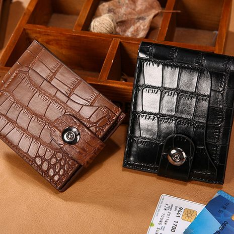 Korean short casual leather buckle open men's clutch wallet wholesale NHBN242542's discount tags