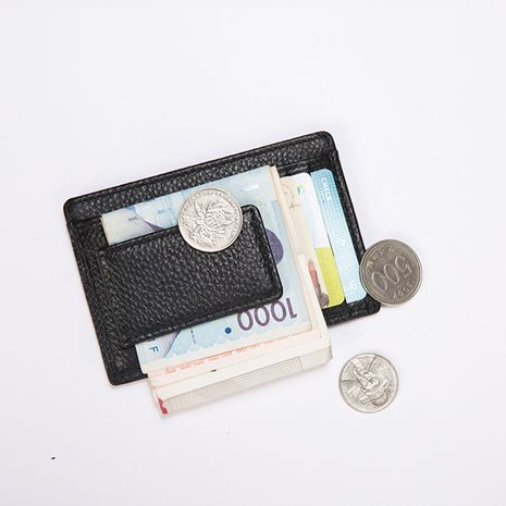 new leather portable multifunctional cowhide magnet men's card holder NHBN242545's discount tags