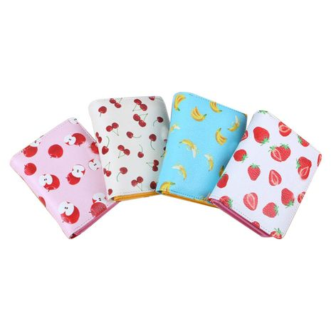 Multifunctional leather girls cartoon zipper buckle strawberry coin purse wholesale NHBN242549's discount tags