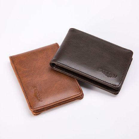Venta al por mayor de la cartera de los hombres cruzados retro cortos de cuero de los hombres coreanos NHBN242553's discount tags