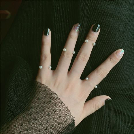 Anillo de aleación de latón ajustable con perla en forma de U abierta de Corea para mujer NHYQ242561's discount tags