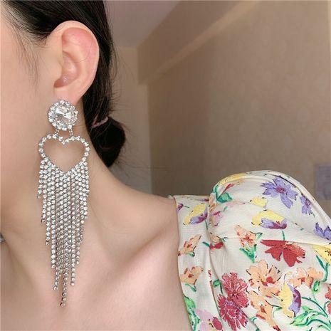 Korea earrings diamonds flashing diamonds peach heart long tassel earrings women NHYQ242570's discount tags