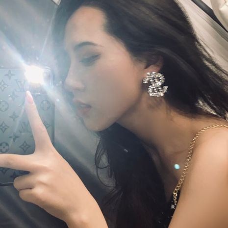 Korea's new dollar-shaped flashing diamond-studded fashionable trendy earrings NHYQ242574's discount tags