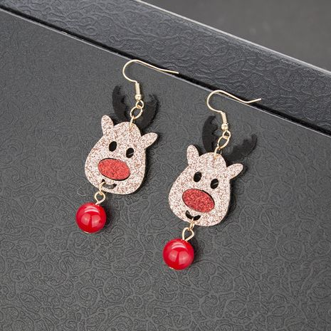 Fun fashion New Golden Christmas Ornaments Sweet and Cute Elk Red Bead alloy Earrings NHBQ242587's discount tags