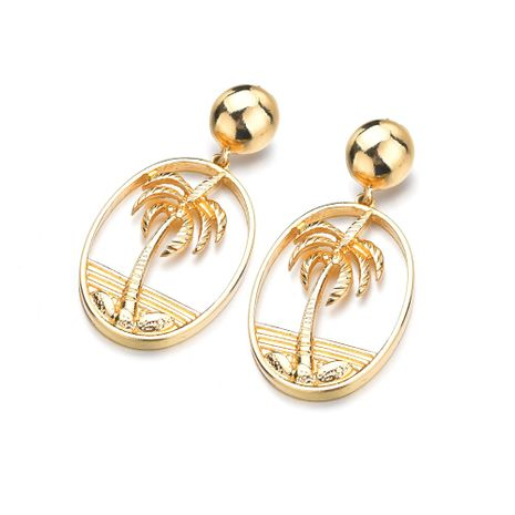 hot-saling new all-match simple metal hollow coconut alloy earrings for women NHBQ242588's discount tags