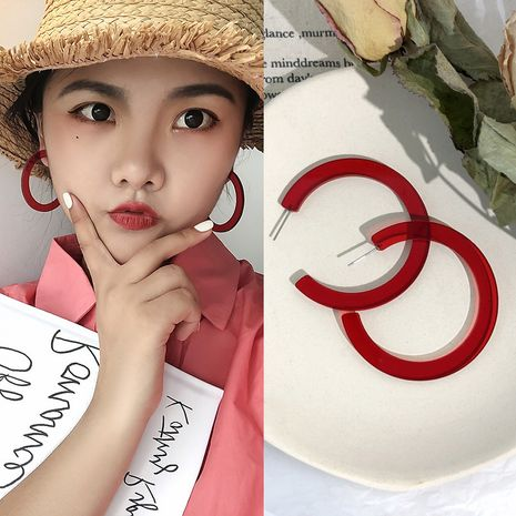 Fashion rubber paint acrylic C-shaped simple color women's earrings wholesale  NHBQ242607's discount tags