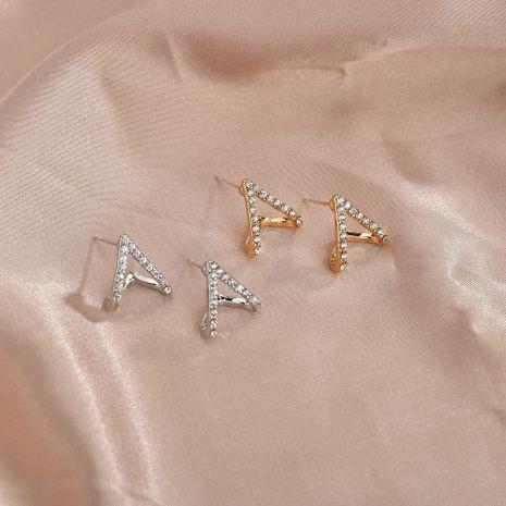 hot sale 925 silver needle Korean diamond-studded zircon triangle V-shaped fashion simple love alloy earrings NHBQ242608's discount tags