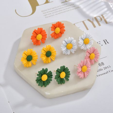 Fashion silver needle small daisy Korea flower simple student alloy earrings  NHBQ242609's discount tags