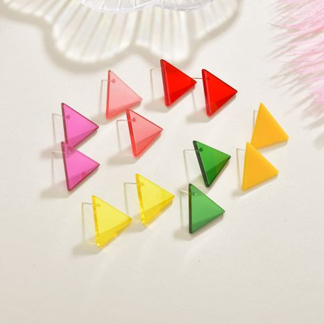 Fashion triangle summer color transparent acrylic small geometric earrings for women NHBQ242610's discount tags