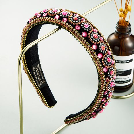 new fashion rose flower inlaid rhinestone thin sponge headband luxury ball baroque hair accessories NHLN242833's discount tags