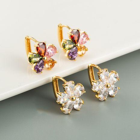 Korea flower earrings brass micro-inlaid zircon earrings for women NHLN242835's discount tags