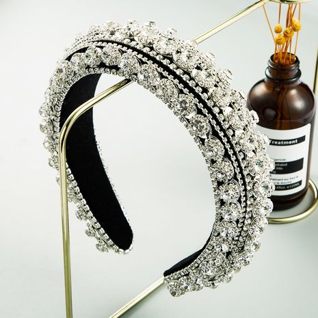 rhinestone heavy industry headband women retro velvet baroque wide edge thickened sponge hair accessories NHLN242837's discount tags
