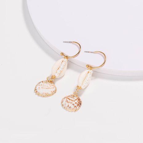 Venta caliente playa de moda dorado en forma de C gancho para la oreja concha natural pendientes de perlas blancas puras joyería al por mayor NHAN251339's discount tags