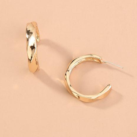 patrón de onda de moda anillo geométrico en forma de c pendientes de textura de metal al por mayor NHAN251356's discount tags