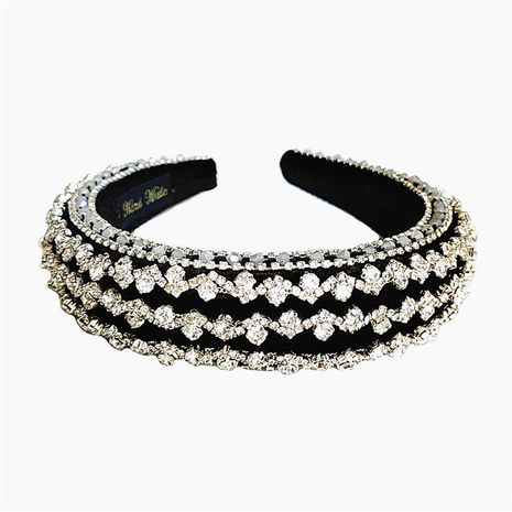 Fashion wide-brimmed retro white rhinestone baroque thick sponge headband for women NHVA251363's discount tags