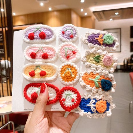 Korean children's wool fruit cherry hairpin girl flower BB clip braided lace hairpin hair accessories clip NHSA251375's discount tags