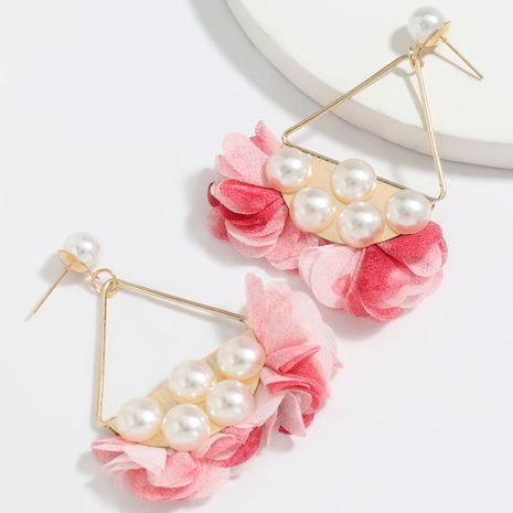 fan-shaped alloy inlaid pearl cloth flower earrings wholesale NHJE251380's discount tags