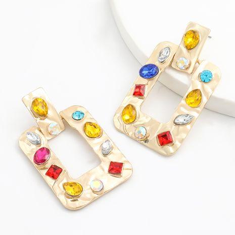nouvelles boucles d'oreilles exagérées de mode acrylique en alliage rectangulaire incrustées de diamants en gros NHJE251381's discount tags