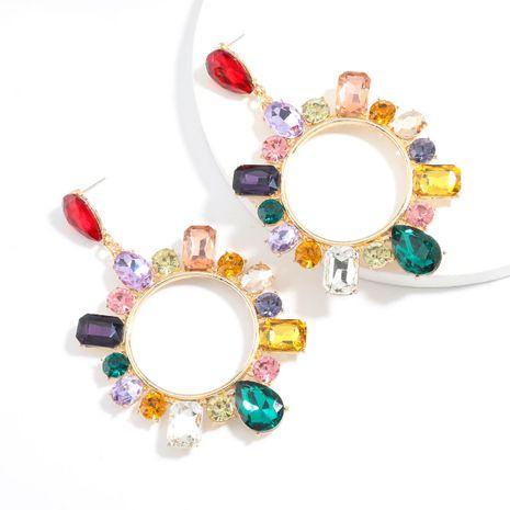 Pendientes exagerados geométricos de cristal coloreado de aleación de la serie de cadena de garra súper intermitente al por mayor NHJE251382's discount tags