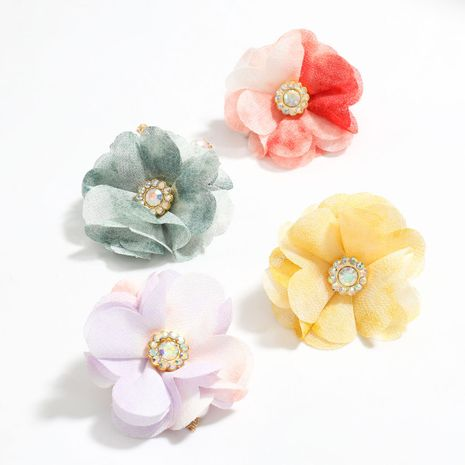 fabric flower big flower alloy inlaid pearl tassel earring wholesale NHJE251385's discount tags