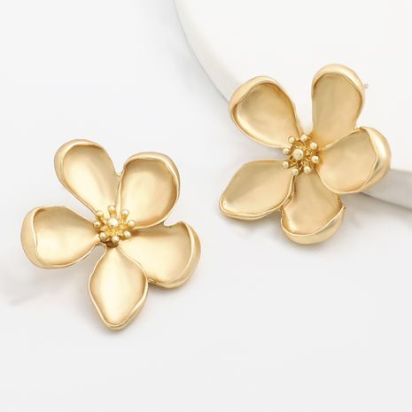 simple alloy flower art fan earrings wholesale NHJE251389's discount tags