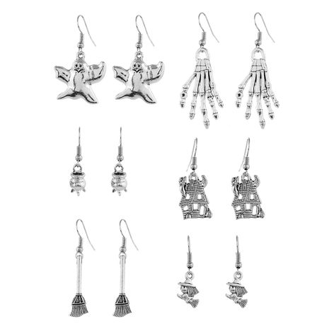new Halloween fun ghost haunted house broom witch geometric 6-piece earrings set  NHPV251394's discount tags
