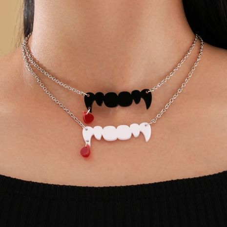 Halloween Series Single Layer Thin Chain Black and White Acrylic Fangs Blood Necklace  NHPV251403's discount tags