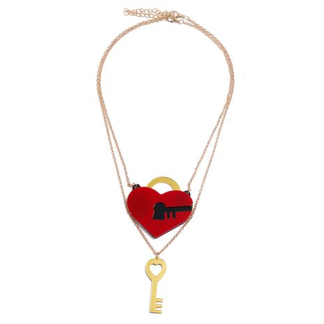 fashion red heart lock key unlock unisex couple alloy pendant necklace NHPV251407's discount tags
