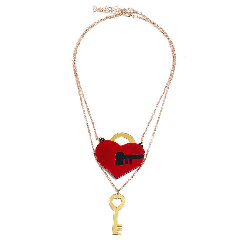 Mode coeur rouge serrure cl dverrouiller un couple unisexe collier pendentif en alliage NHPV251407