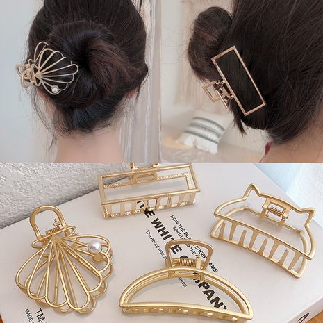 Korean style lazy geometric metal hairpin catch clip large simple hairpin wholesale NHDQ251426's discount tags