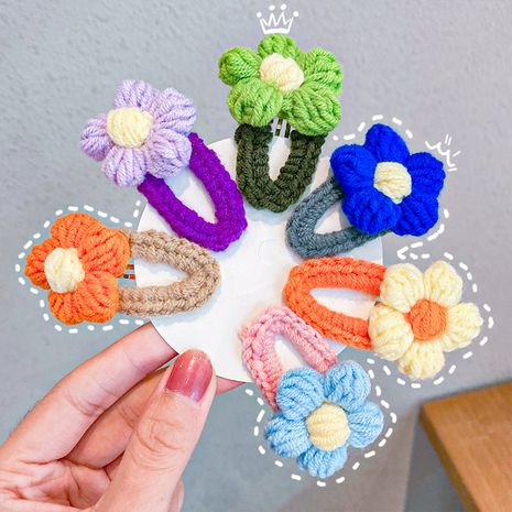 Korean autumn and winter wool hairpin flower hairpin hand-woven edge clip wholesale NHNA251440's discount tags