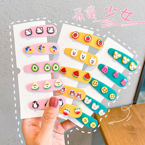 Venta al por mayor linda del clip de la historieta de la horquilla de la fruta del color del caramelo de la horquilla de los nuevos niños NHNA251442's discount tags