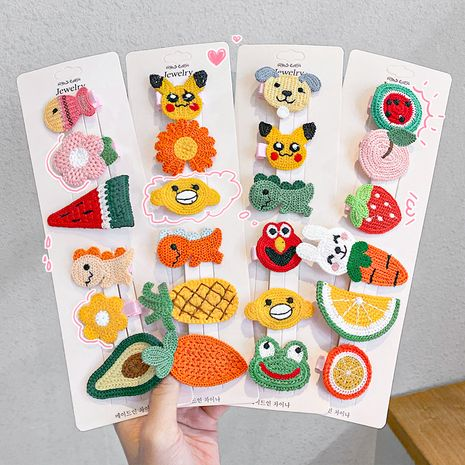 Cartoon knitted hairpin children's cloth hairpin side clip hand-woven hair accessories wholesale NHNA251445's discount tags