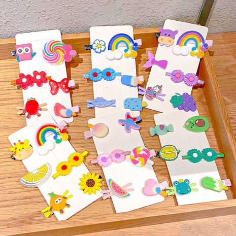 New cartoon children's hair clip set cute bow headband side clip hair accessories wholesale NHNA251451's discount tags
