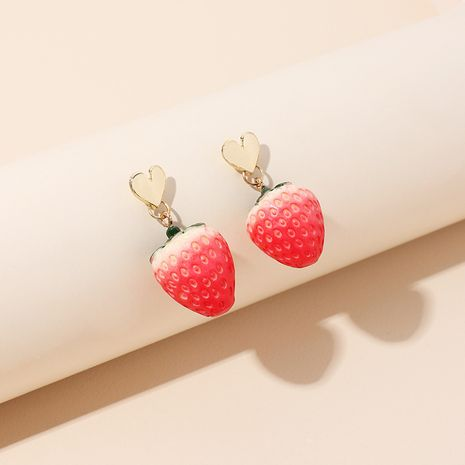 The new sweet fruit strawberry Korean earrings wholesale NHRN251464's discount tags