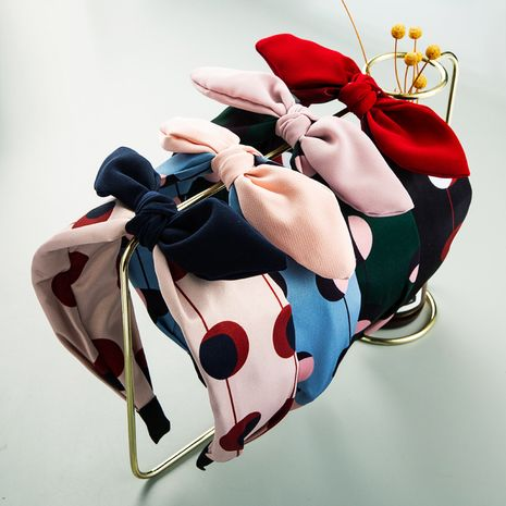 Nueva tela coreana wave dot bow knot nudo simple bangs diadema banda para el cabello para mujeres NHLN251468's discount tags