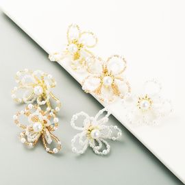 Korea exquisite hand-woven crystal pearl earrings wholesale NHLN251473
