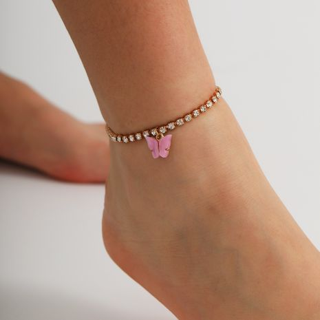 fashion simple glass rhinestone foot ornaments autumn new WOMEN'S butterfly anklets NHXR251501's discount tags