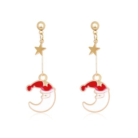Christmas series fashion alloy dripping moon earrings hot-selling wholesale NHDR251524's discount tags