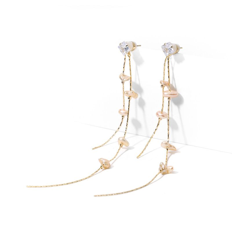 925 silver needle long tassel elegant new ear line simple long alloy earrings NHPP251539