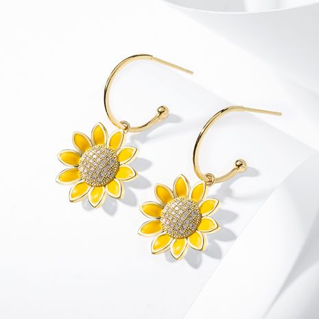 Fashion 925 silver needle sunflower sweet long new flower alloy earrings for women NHPP251551's discount tags