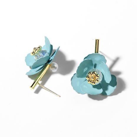 925 silver needle stud earrings flower summer literary ear jewelry wholesale NHPP251573's discount tags