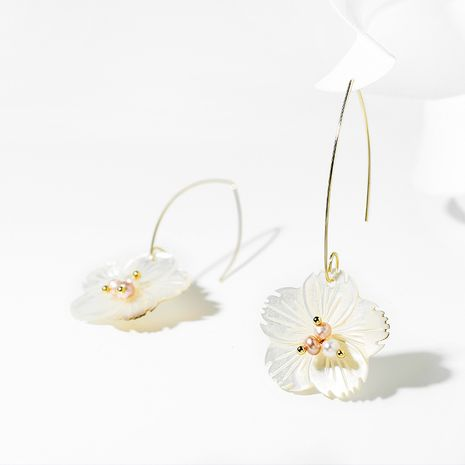 flower creative fresh new summer sweet pearl earrings wholesale NHPP251574's discount tags