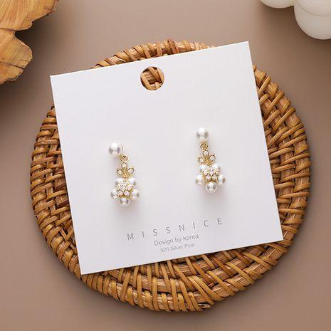 S925 aguja de plata nuevos pendientes de flores de perlas de moda de estilo coreano para mujeres joyería de oreja NHMS251583's discount tags