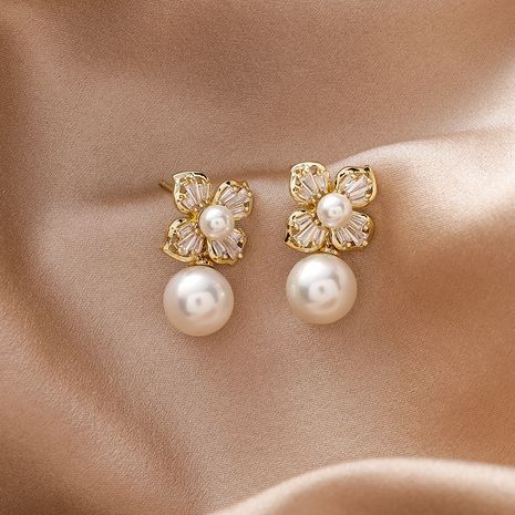 925 silver needle zircon flower simple pearl Korean small versatile copper earrings NHMS251585's discount tags