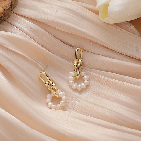 Corea 925 aguja de plata perla de agua dulce textura de metal pendientes de cadena gruesa para mujeres joyería de oreja NHMS251588's discount tags
